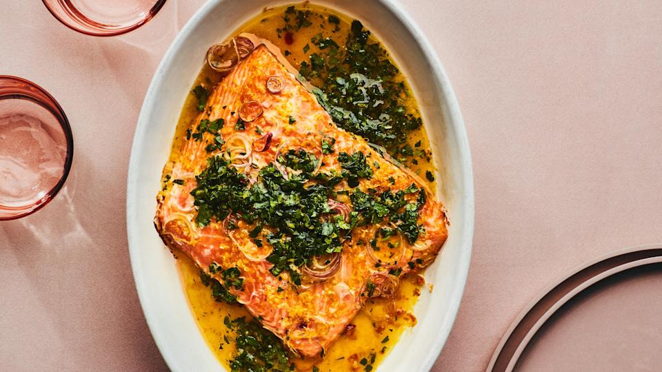 "Paprika gives smoky, spicy balance to bright citrus and herb flavors. If your paprika has been hanging out in the back of the spice cabinet for longer than six months, though, it might be time to start fresh. <a href=""https://www.bonappetit.com/recipe/roasted-salmon-salsa-verde?mbid=synd_yahoo_rss"" rel=""nofollow noopener"" target=""_blank"" data-ylk=""slk:See recipe."" class=""link rapid-noclick-resp"">See recipe.</a>"