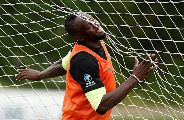 Soccer Football - England & Soccer Aid World XI Training - Motspur Park, London, Britain - June 7, 2018 Soccer Aid World XI's Usain Bolt during training Action Images via Reuters/Andrew Boyers TPX IMAGES OF THE DAY