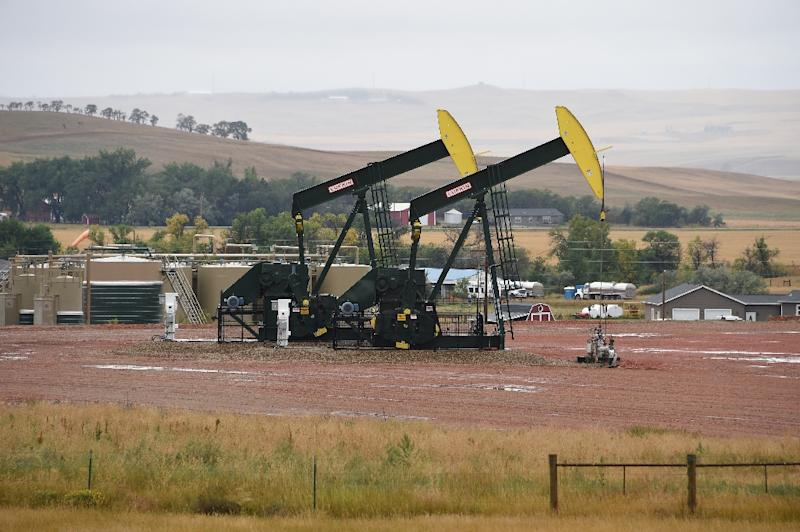 Shale pumps in action in North Dakota -- American oil production is approaching record levels