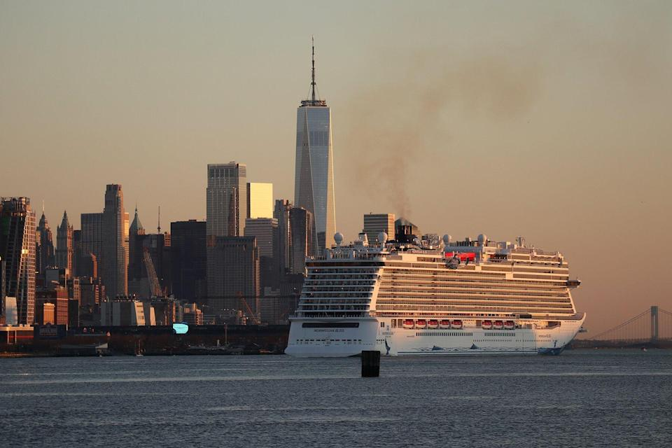 The Norwegian Bliss cruise ship sails in the Hudson River