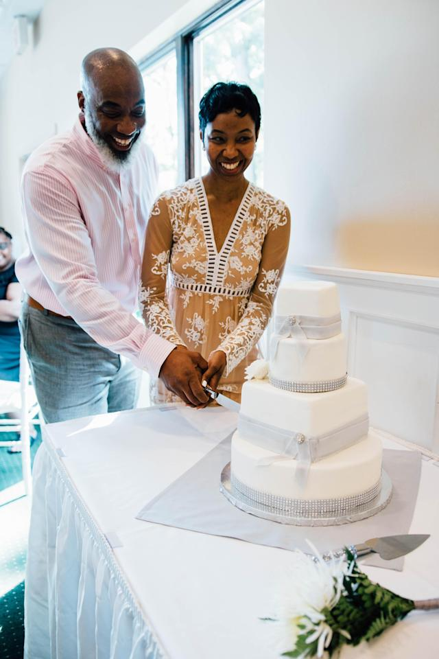 Anthony and Dajuana Mayers celebrating at their vow renewal ceremony. (Photo: Catherine Rogers)