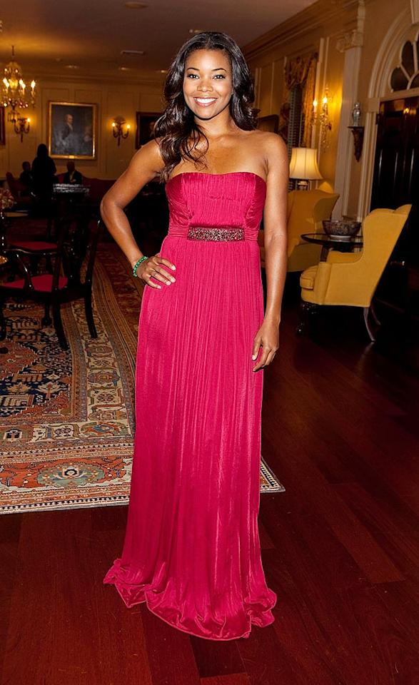 "Gabrielle Union looked better than ever at a recent benefit in a raspberry chiffon BCBG gown with a bejeweled empire waist. Paul Morigi/<a href=""http://www.wireimage.com"" target=""new"">WireImage.com</a> - June 9, 2009"