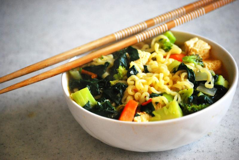 """Of course instant ramen would be on this list. Nothing beats slurping a cup of comforting noodles that take two minutes to make. But if you're keen on making the meal more nutritious for your family, there are plenty of <a href=""""https://www.buzzfeed.com/farrahpenn/genius-ramen-hacks-that-people-swear-by"""" target=""""_blank"""" rel=""""noopener noreferrer"""">instant ramen hacks</a> out there. Use chicken broth instead of the packet for a tastier bowl. Easy toppings include canned meat for protein, sliced pepper, and light greens like cilantro or green onion.&nbsp;"""