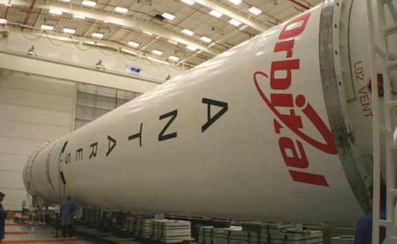 An Orbital Sciences Corp. Antares rocket is seen partially assembled ahead of 2013 test flight.