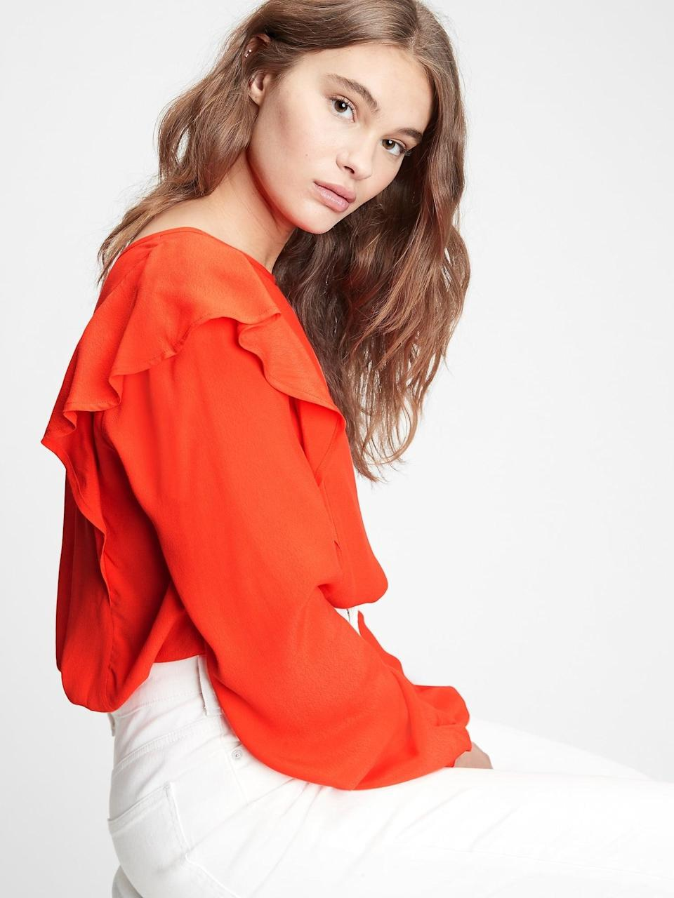 <p>This <span>Gap Ruffle Shoulder Top</span> ($39, originally $60) is the perfect virtual office top for Valentine's Day with the party at the shoulders!</p>