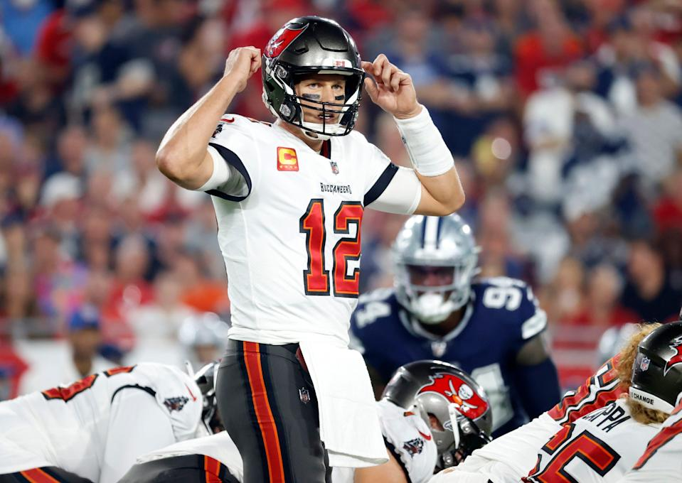 Tampa Bay Buccaneers quarterback Tom Brady (12) calls a play against the Dallas Cowboys during the first quarter at Raymond James Stadium.