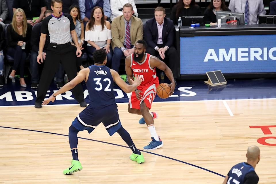 James Harden isolates against Karl-Anthony Towns and prepares to attack. (Getty)