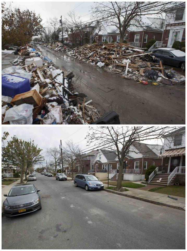 A combination photo shows debris piled outside of homes damaged by the storm surge of Superstorm Sandy on November 8, 2012 (top) and a recent view of the same street in the Queens borough neighborhood of Belle Harbor, New York on October 23, 2013 (bottom). The historic superstorm killed at least 159 people and damaged more than 650,000 homes when it made landfall on October 29, 2012, devastating parts of New York, New Jersey and several other states. TO MATCH ONE YEAR HURRICANE SANDY ANNIVERSARY BEFORE AFTER PACKAGE. REUTERS/Lucas Jackson (UNITED STATES - Tags: ANNIVERSARY DISASTER ENVIRONMENT)