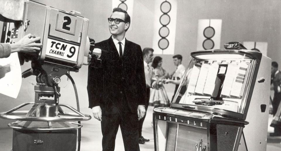 An undated, supplied photo of Bandstand host and former channel Nine newsreader Brian Henderson on the Bandstand set. Source: AAP/Nine