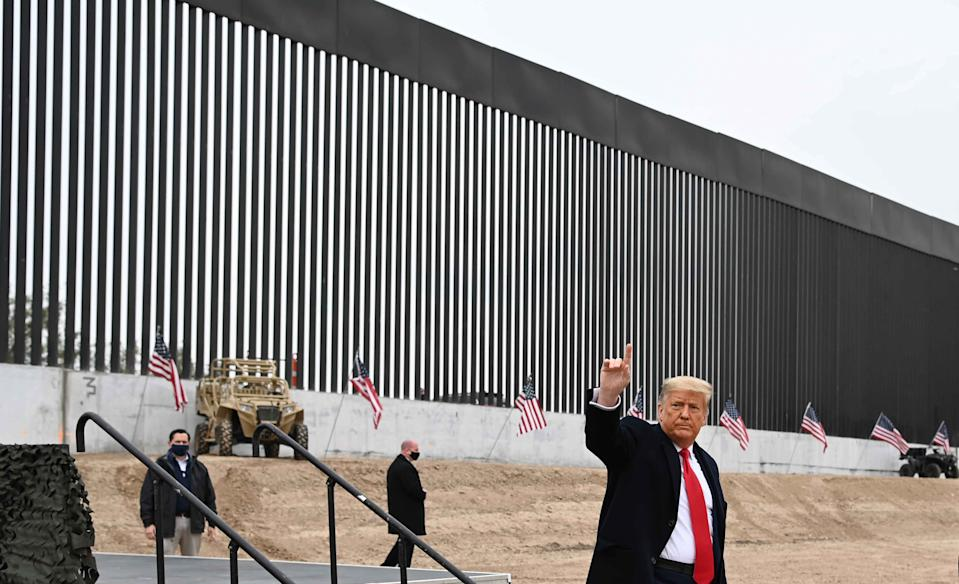 US President Donald Trump tours a section of the border wall in Alamo, Texas on January 12, 2021.US President Donald Trump speaks after touring a section of the border wall in Alamo, Texas on January 12, 2021. (Photo by MANDEL NGAN / AFP) (Photo by MANDEL NGAN/AFP via Getty Images)