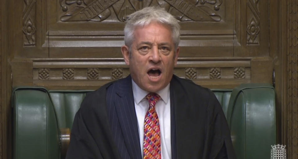 John Bercow, Speaker of the House of Commons calls the house to order in the House of Commons, London, Wednesday Sept. 25, 2019. Britain's House of Commons reconvened on Wednesday following the bombshell Supreme Court ruling that Prime Minister Boris Johnson had acted illegally by suspending Parliament — in effect stymieing efforts to consider laws surrounding Brexit. (Parliament TV via AP)