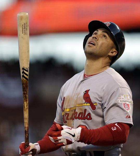 St. Louis Cardinals' Carlos Beltran reacts after grounding out during the third inning of Game 7 of baseball's National League championship series against the San Francisco Giants Monday, Oct. 22, 2012, in San Francisco. (AP Photo/Ben Margot)