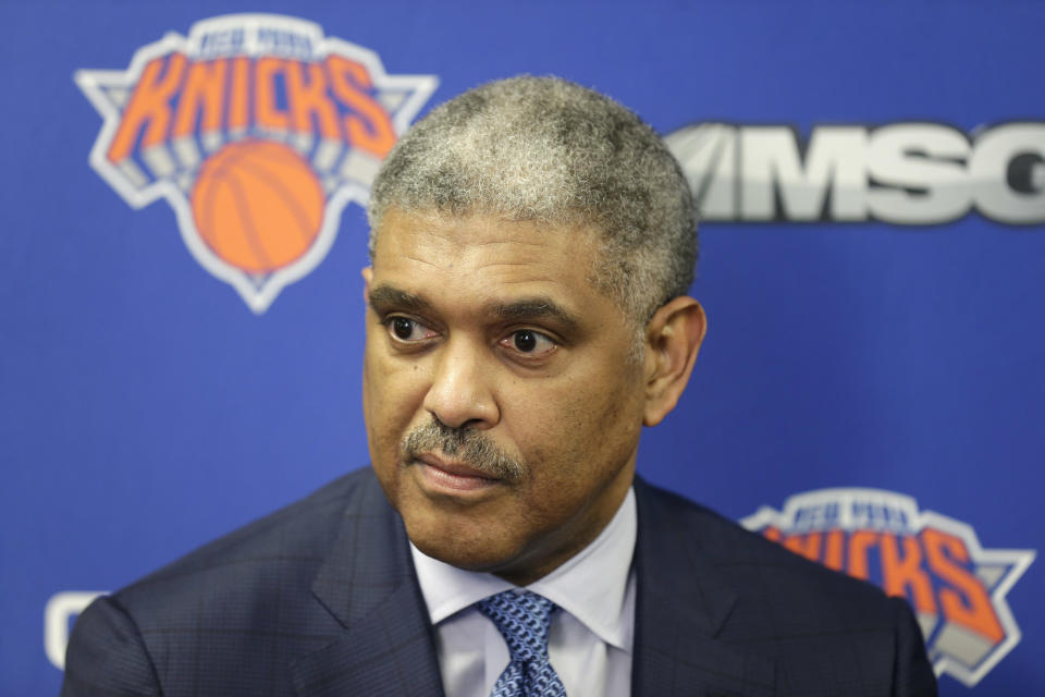 New York Knicks' president Steve Mills speaks to reporters at a news conference in Tarrytown, N.Y., Thursday, April 12, 2018. The Knicks fired coach Jeff Hornacek early Thursday, making the decision shortly after beating Cleveland on Wednesday night to finish a 29-53 season. They lost more than 50 games and missed the playoffs both seasons under Hornacek. (AP Photo/Seth Wenig)