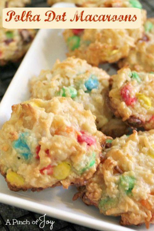 """<p>These colorful coconut macaroons are perfect for Easter. You can use regular M&Ms, or <a href=""""https://go.redirectingat.com?id=74968X1596630&url=https%3A%2F%2Fwww.walmart.com%2Fip%2FM-M-S-Easter-Milk-Chocolate-Candy-Bag-11-4-oz%2F42960863&sref=https%3A%2F%2Fwww.goodhousekeeping.com%2Ffood-recipes%2Fdessert%2Fg5078%2Feaster-cookies%2F"""" rel=""""nofollow noopener"""" target=""""_blank"""" data-ylk=""""slk:Easter-themed ones"""" class=""""link rapid-noclick-resp"""">Easter-themed ones</a> for that seasonal touch. </p><p><a href=""""http://www.apinchofjoy.com/2014/12/polka-dot-macaroons/"""" rel=""""nofollow noopener"""" target=""""_blank"""" data-ylk=""""slk:Get the recipe from A Pinch of Joy »"""" class=""""link rapid-noclick-resp""""><em>Get the recipe from A Pinch of Joy »</em></a></p>"""