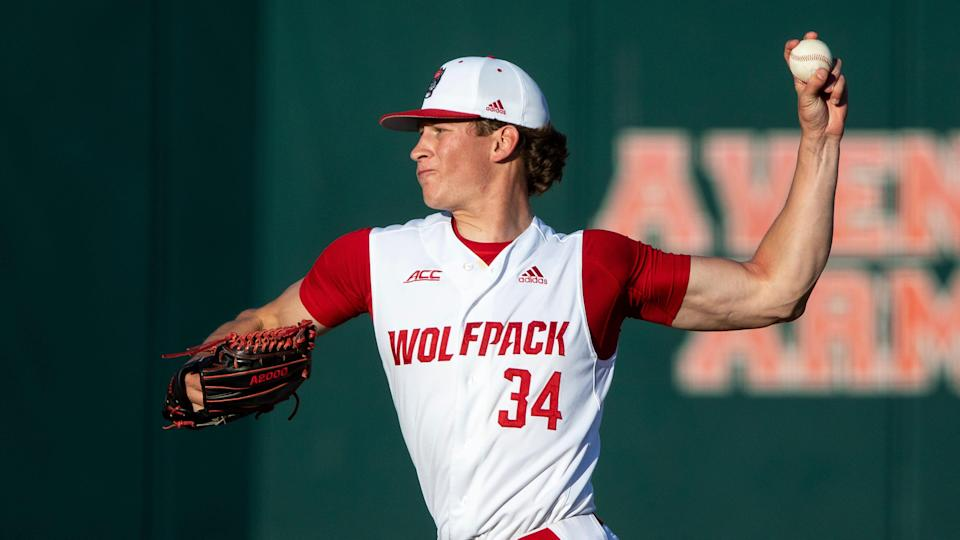 North Carolina State's Evan Justice (34) pitches during a game April 25 in Raleigh.