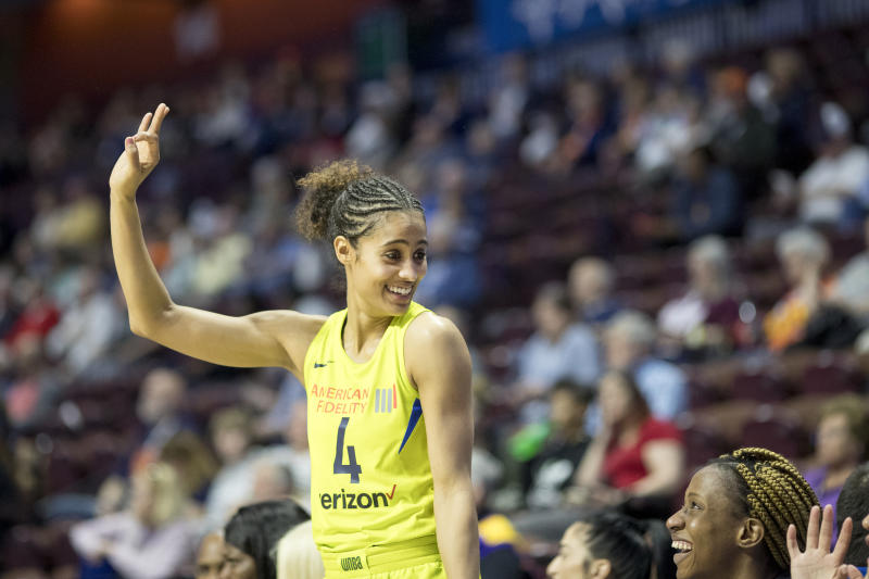 Skylar Diggins-Smith #4 of the Dallas Wings reacts on the bench during the Dallas Wings Vs New York Liberty, WNBA pre season game at Mohegan Sun Arena on May 7, 2018 in Uncasville, Connecticut. (Photo by Tim Clayton/Corbis via Getty Images)