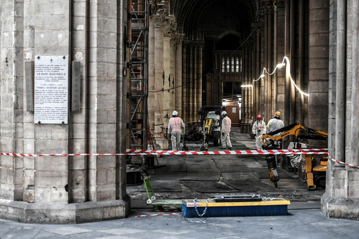 Workers are pictured during preliminary work at the Notre Dame Cathedral, July 17, 2019 in Paris. (Photo: Stephane de Sakutin/Pool via AP)