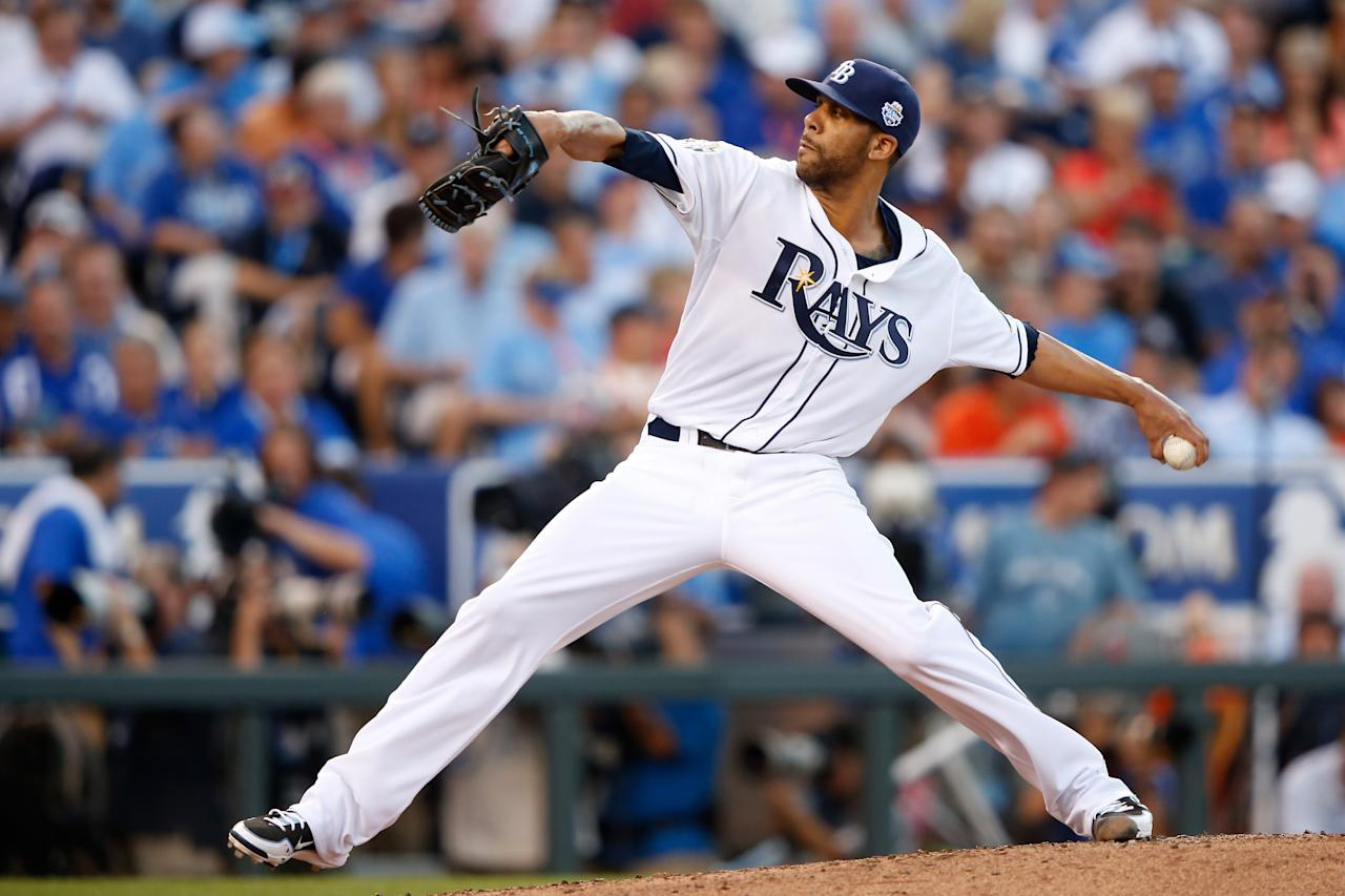 KANSAS CITY, MO - JULY 10:  American League All-Star David Price #14 of the Tampa Bay Rays pitches in the thrid inning during the 83rd MLB All-Star Game at Kauffman Stadium on July 10, 2012 in Kansas City, Missouri.  (Photo by Jamie Squire/Getty Images)