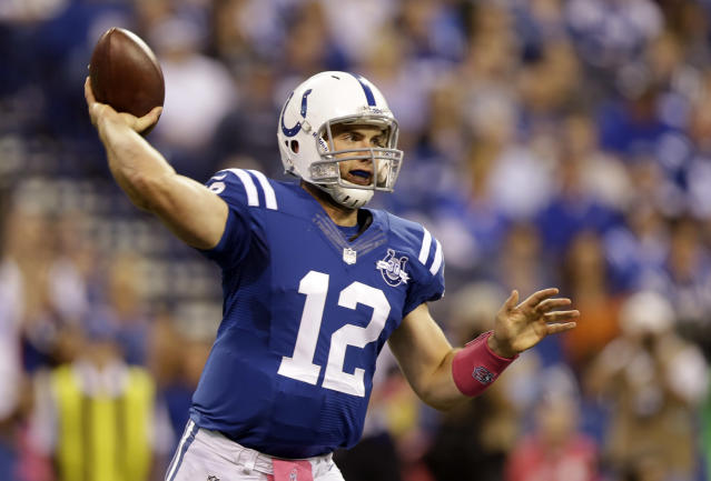 Indianapolis Colts quarterback Andrew Luck throws against the Seattle Seahawks during the first half of an NFL football game in Indianapolis, Sunday, Oct. 6, 2013. (AP Photo/Michael Conroy)