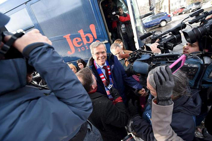 <p>Republican presidential candidate Jeb Bush arrives at Webster School in Manchester, N.H., on Feb. 9, 2016. <i>(Photo: Faith Ninivaggi/Reuters)</i></p>
