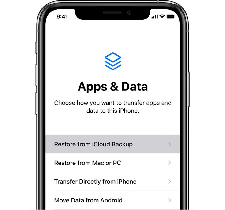 Setting up your new iPhone 12 with data from your old iPhone via iCloud will ensure you get all of your data and apps with ease. (Image: Apple)