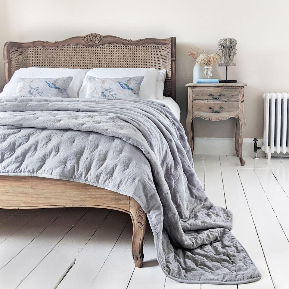 """<p>If you want to introduce grey into your bedroom, why not buy some new accessories? This sumptuous throw and Hummingbird cushions work perfectly with the French-style furniture as they both have a faded, vintage look. And they work perfectly with plain white bedlinen too.</p><p>Pictured: Hummingbird boudoir cushion, Peachskin quilted bedspread in French Grey, both from <a href=""""https://www.frenchbedroomcompany.co.uk/"""" rel=""""nofollow noopener"""" target=""""_blank"""" data-ylk=""""slk:The French Bedroom Company"""" class=""""link rapid-noclick-resp"""">The French Bedroom Company</a></p>"""