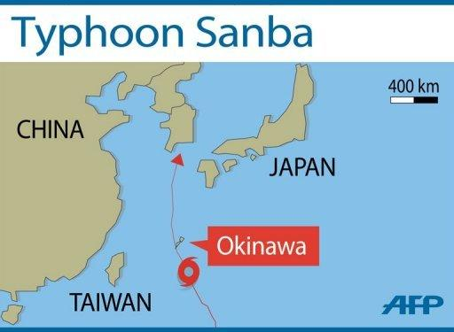 Typhoon Sanba is forecast to make landfall early on September 16, according to the Japan Meteorological Agency