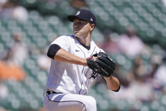 Detroit Tigers starting pitcher Tarik Skubal throws during the fourth inning of a baseball game against the New York Yankees, Sunday, May 30, 2021, in Detroit. (AP Photo/Carlos Osorio)