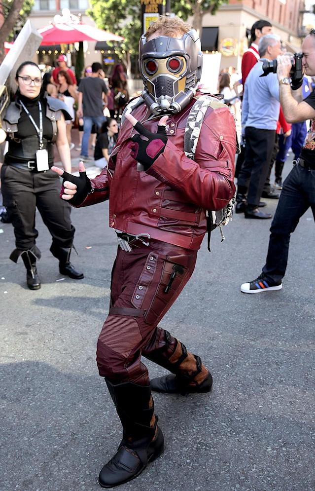 <p>Cosplayer dressed as Star-Lord at Comic-Con International on July 20, 2018, in San Diego. (Photo: Quinn P. Smith/Getty Images) </p>