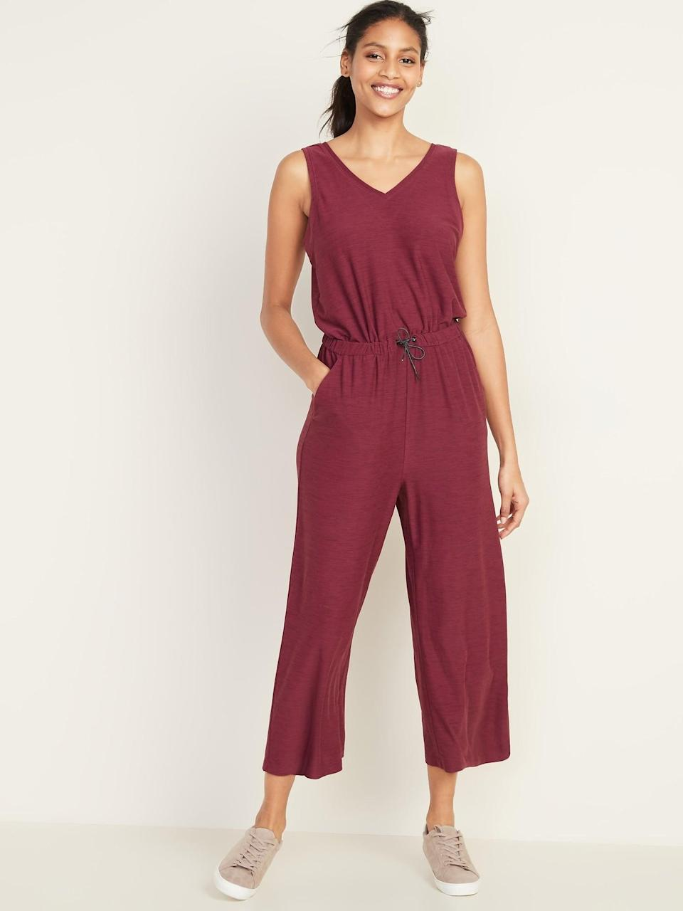 <p>Add a pop of color to your wardrobe with the <span>Old Navy Breathe ON V-Neck Wide-Leg Jumpsuit </span> ($40) in maroon.</p>