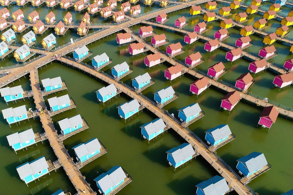 <p>A general view of the dutch-style cabins of Yue Tuo Island Resort near Laoting in Tangshan, China. (Lintao Zhang/Getty Images) </p>