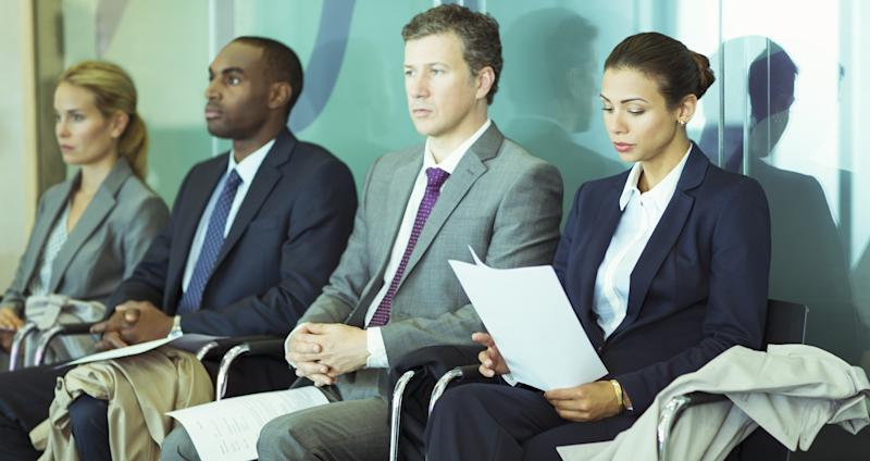 Business people sitting in a waiting area