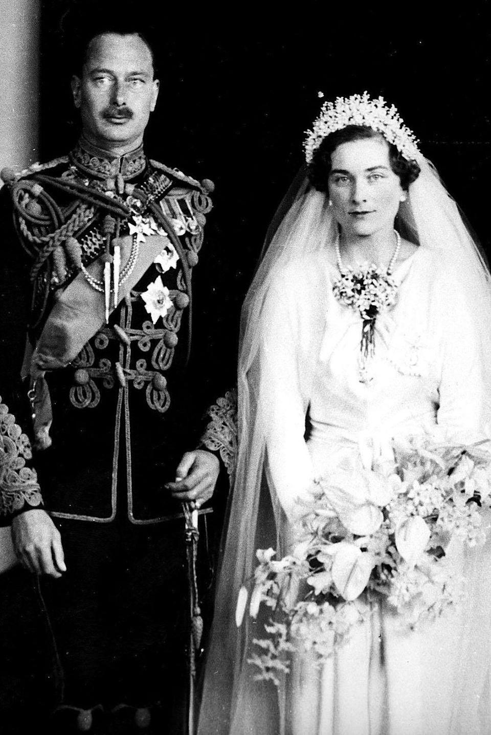 "<p><strong>Wedding date: </strong>November 06, 1935</p><p><strong>Wedding tiara: </strong>Alice didn't actually wear a tiara to her royal wedding to Prince Henry, Duke of Gloucester. <a href=""http://orderofsplendor.blogspot.com/2011/11/wedding-wednesday-alice-duchess-of.html"" rel=""nofollow noopener"" target=""_blank"" data-ylk=""slk:Instead, she wore a crystal headdress"" class=""link rapid-noclick-resp"">Instead, she wore a crystal headdress</a> that attached to her tulle veil. The wedding was an unexpectedly somber occasion because Alice's father died only weeks before the ceremony. </p>"