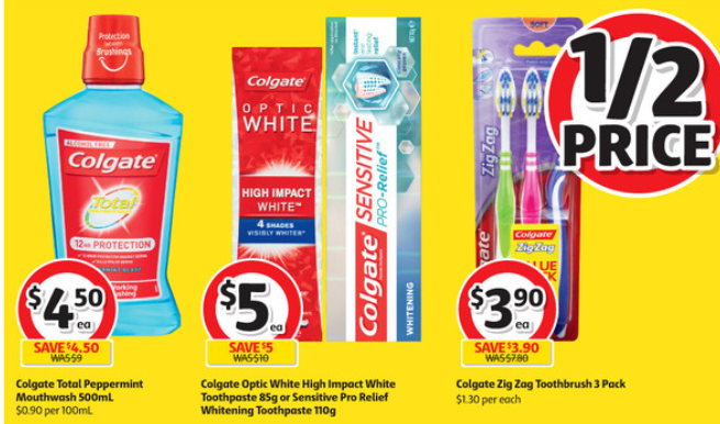 Dental care items selling at 50%-off at Coles.