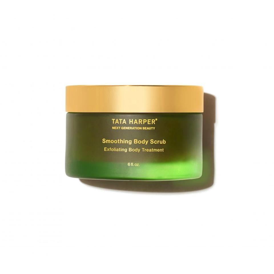 """<p><strong>Tata Harper</strong></p><p>tataharperskincare.com</p><p><strong>$90.00</strong></p><p><a href=""""https://go.redirectingat.com?id=74968X1596630&url=https%3A%2F%2Fwww.tataharperskincare.com%2Fbrightening-body-exfoliator&sref=https%3A%2F%2Fwww.womenshealthmag.com%2Fbeauty%2Fg35928968%2Fbest-body-scrub%2F"""" rel=""""nofollow noopener"""" target=""""_blank"""" data-ylk=""""slk:Shop Now"""" class=""""link rapid-noclick-resp"""">Shop Now</a></p><p>Made with various high-performing botanicals, this multi-particle scrub buffs skin with five sources of exfoliation, polishes with six smoothing ingredients, and nourishes with six vitamins and minerals. Ideal for dry, mature skin and for treating stretch marks, the Smoothing Body Scrub is best applied in a downward direction before rinsing off.</p>"""