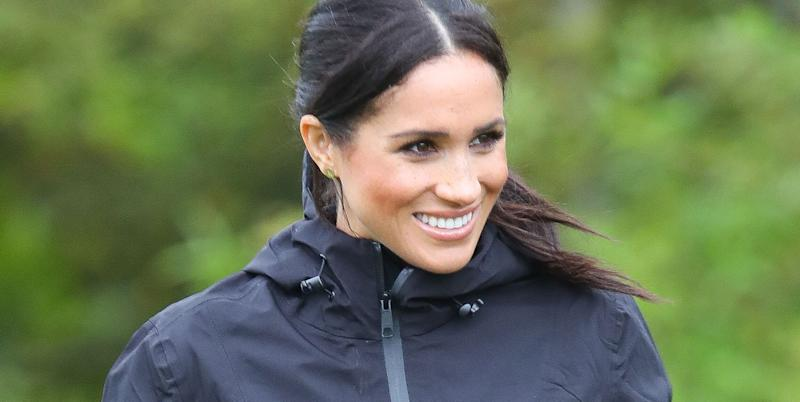 Meghan Markle Was Photographed Beaming on a Hike With Archie and Her Dogs