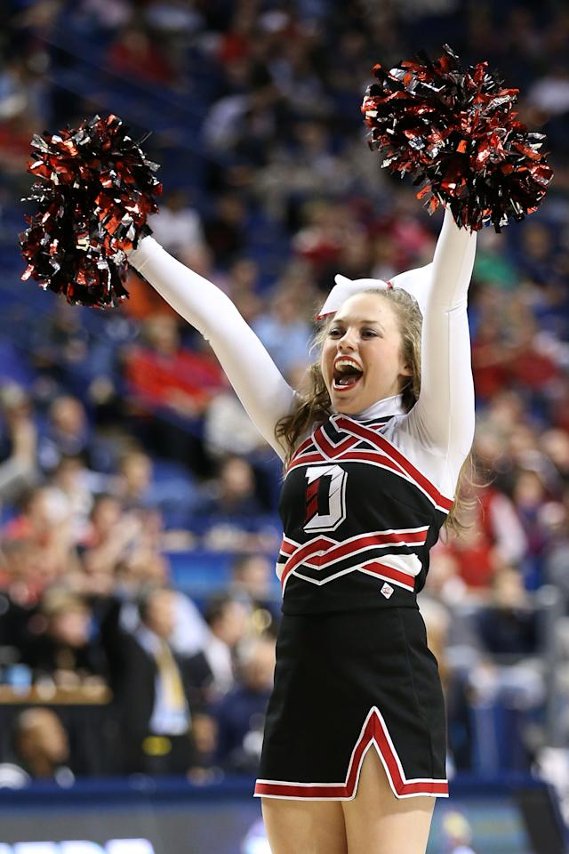 LEXINGTON, KY - MARCH 21:  A Davidson Wildcats cheerleader performs in the second against the Marquette Golden Eagles half during the second round of the 2013 NCAA Men's Basketball Tournament at the Rupp Arena on March 21, 2013 in Lexington, Kentucky. Marquette won 59-58.  (Photo by Andy Lyons/Getty Images)