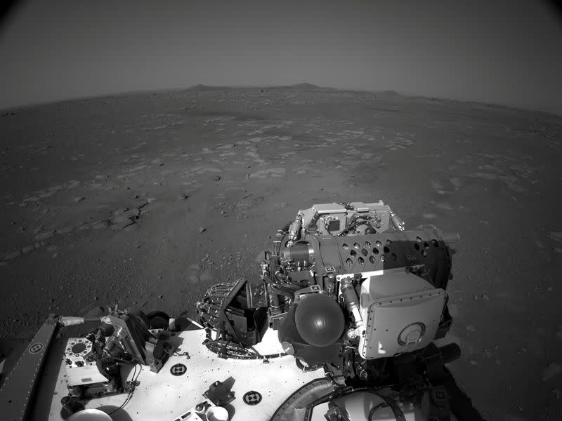 NASA's Mars Perseverance rover's onboard Navcam shows the surrounding area