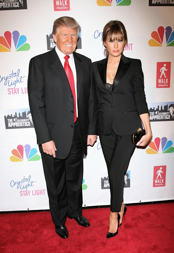"""Donald Trump and Melania Trump attend the """"Celebrity Apprentice"""" Live Finale at American Museum of Natural History on May 20, 2012 in New York City."""