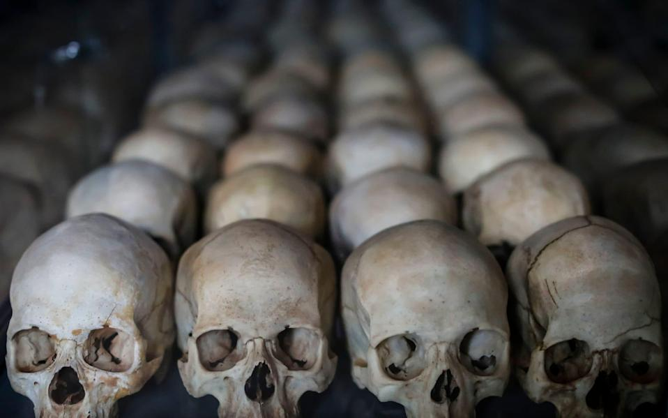 The skulls of people killed as they sought refuge inside the Ntarama church, part of a memorial to the victims of the 1994 genocide - DAI KUROKAWA/EPA-EFE/REX