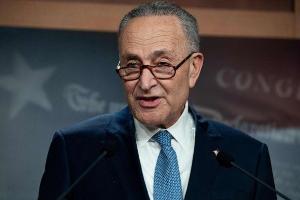 PHOTO: Senate Minority Leader Chuck Schumer speaks during a press conference at the U.S. Capitol in Washington, D.C., Jan. 7, 2021. (Saul Loeb/AFP via Getty Images)