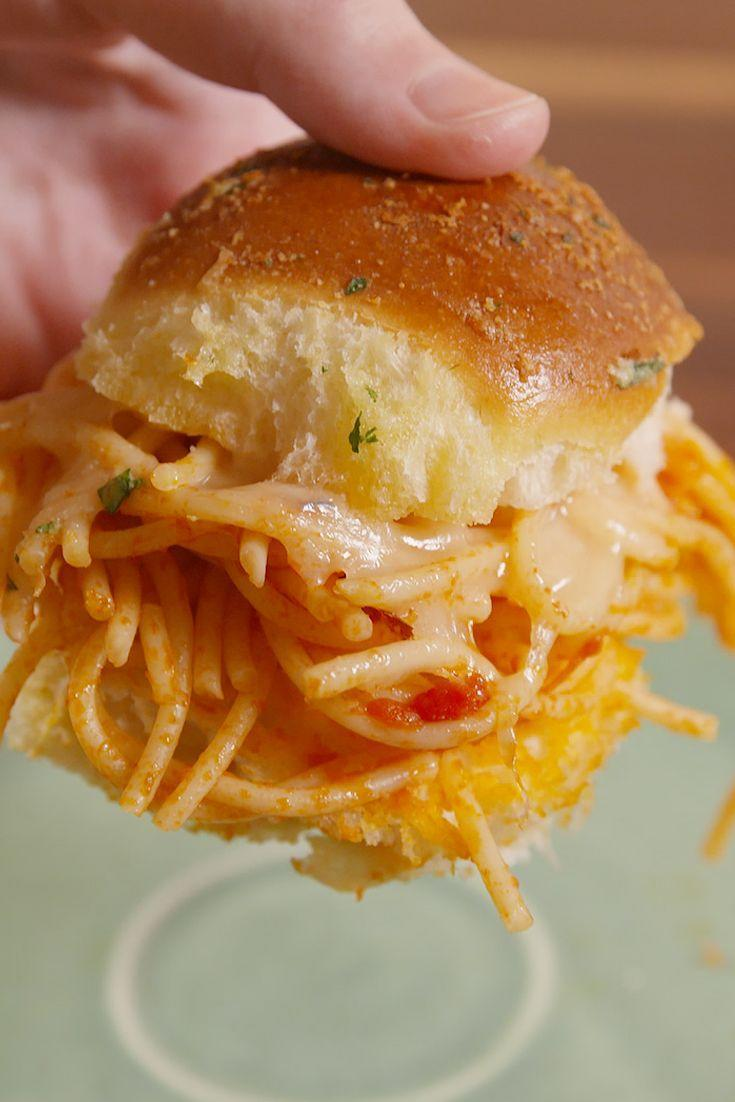 """<p>Carbs on carbs never tasted so good.</p><p>Get the recipe from <a href=""""https://www.delish.com/cooking/recipe-ideas/recipes/a50952/spaghetti-sliders-recipe/"""" rel=""""nofollow noopener"""" target=""""_blank"""" data-ylk=""""slk:Delish"""" class=""""link rapid-noclick-resp"""">Delish</a>.</p>"""