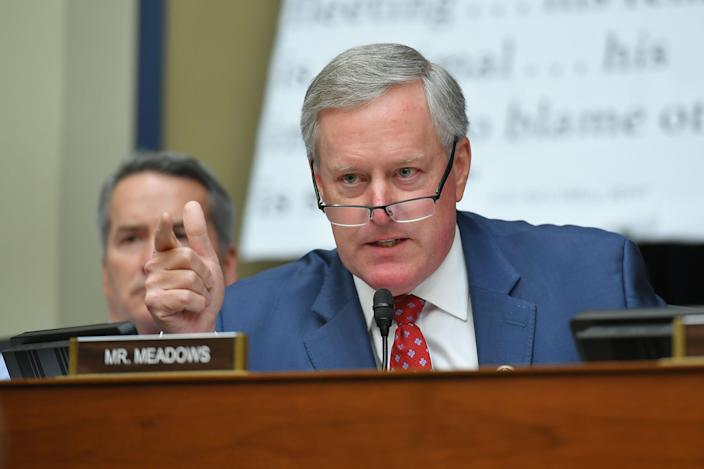 Rep. Mark Meadows, R-N.C., speaks as Michael Cohen, President Donald Trump's former personal attorney, testifies before the House Oversight and Reform Committee in the Rayburn House Office Building on Capitol Hill in Washington, on Feb. 27, 2019.