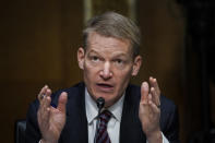 FireEye CEO Kevin Mandia speaks during a Senate Intelligence Committee hearing on Capitol Hill on Tuesday, Feb. 23, 2021 in Washington. (Drew Angerer/Photo via AP)