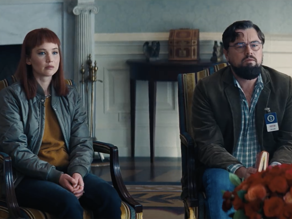 Jennifer Lawrence and Leonardo DiCaprio in 'Don't Look Up' (Netflix)