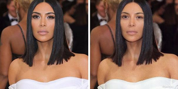 <p>Kim K. is still slaying without those heavy lashes. </p>