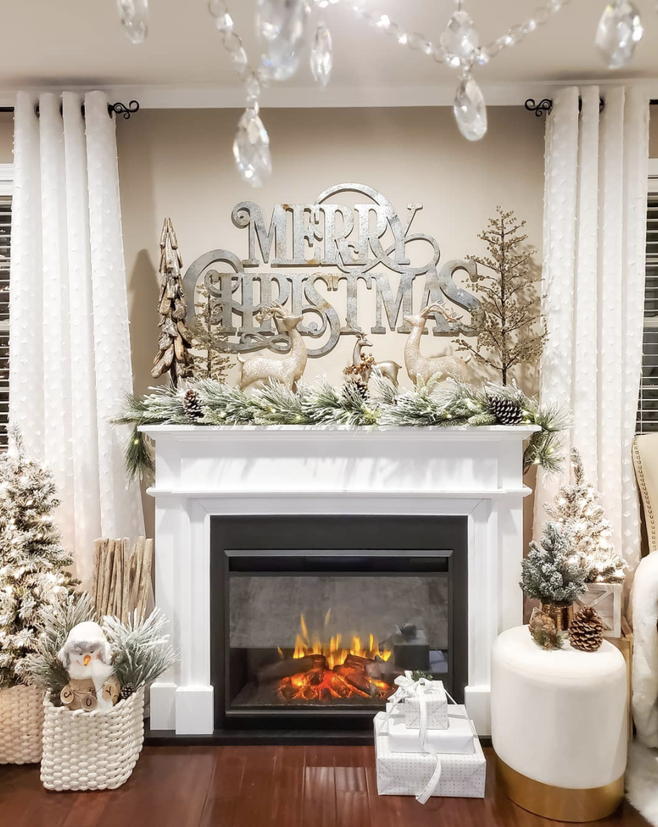 "<p>Fill a blank space above your fireplace with a larger-than-life sign to greet your holiday guests. </p><p><em>See more at <a href=""https://www.instagram.com/p/B6s2hihprpz/"" rel=""nofollow noopener"" target=""_blank"" data-ylk=""slk:jocelyn_jujess"" class=""link rapid-noclick-resp"">jocelyn_jujess</a>.</em></p><p><a class=""link rapid-noclick-resp"" href=""https://www.amazon.com/Large-Metal-Merry-Christmas-3725937/dp/B076X357JB/?tag=syn-yahoo-20&ascsubtag=%5Bartid%7C10072.g.34484299%5Bsrc%7Cyahoo-us"" rel=""nofollow noopener"" target=""_blank"" data-ylk=""slk:SHOP SIGN"">SHOP SIGN</a></p>"