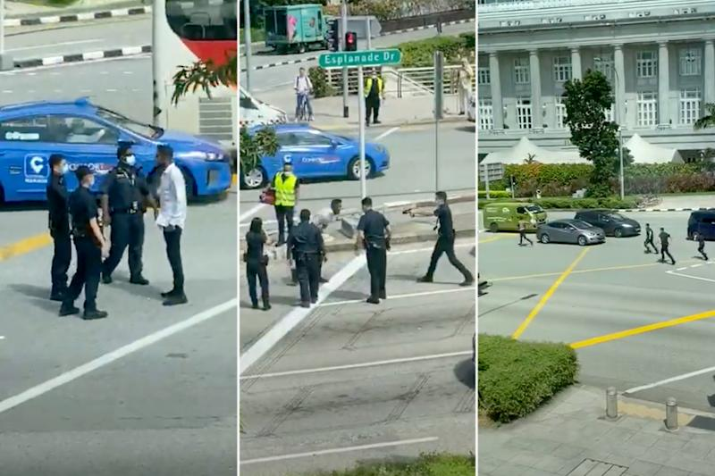 Screengrabs from a YouTube video showing the incident along Esplanade Drive