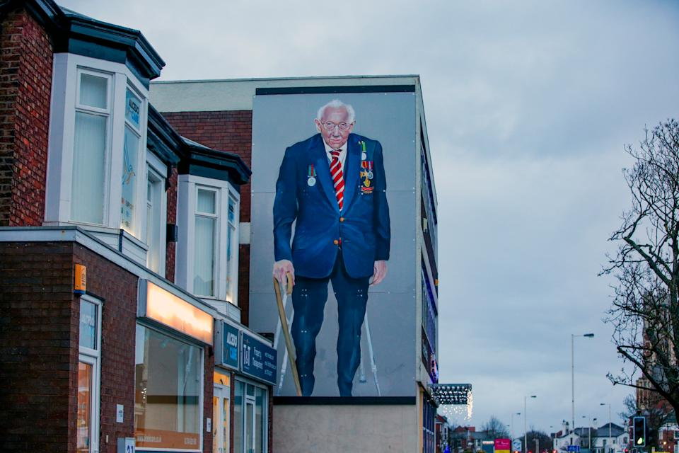 A mural of Captain Sir Tom Moore has been painted on a building in Southport. (Photo by Peter Byrne/PA Images via Getty Images)