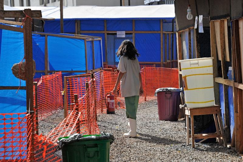 A worker is pictured at the Donka Ebola treatment center on May 2, 2015 in Conakry (AFP Photo/Cellou Binani)